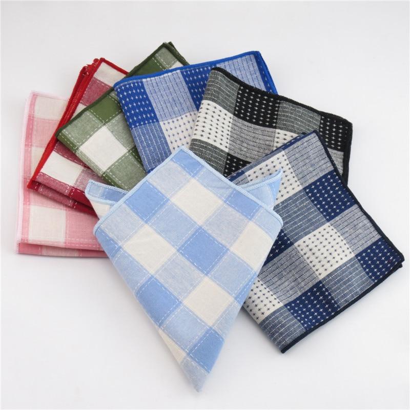 Mantieqingway Cotton Plaid Pocket Square Wedding Party Handkerchief For Men's Business Pocket Towel Casual Hankies
