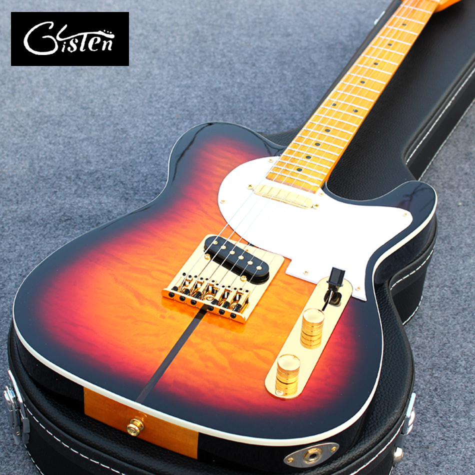 New style of high-quality customized tele electric guitar, maple fingerboard mahogany body electric guitar, free shipping, 0023 high quality hollow maple body nashville electric guitar with gold bigsby free shipping