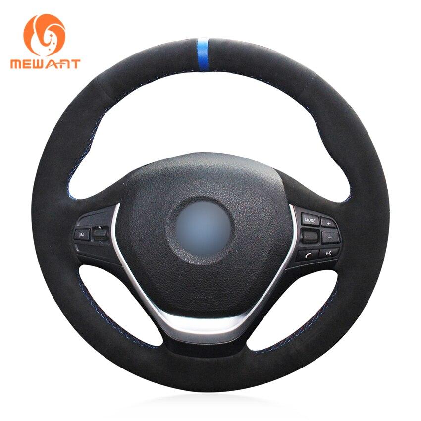 цена на MEWANT Black Suede Blue Marker Steering Wheel Cover for BMW F20 2012-2018 F45 2014-2018 F30 F31 F34 2013-2017 F32 F33 F36
