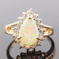 Hot Sell Drop Fire Yellow Opal Ring 2015 Fashion Jewelry 18K Gold Filled White Crystal Sapphire