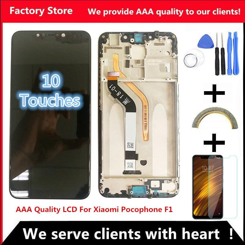 ЖК-дисплей с рамкой для Xiaomi Pocophone F1, 6,18 дюйма, качество ААА, разрешение 2246*1080