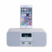 EXRIZU Wireless Bluetooth Speaker NFC Radio Alarm Clock Portable Audio Music 8 pin Charger Dock Station