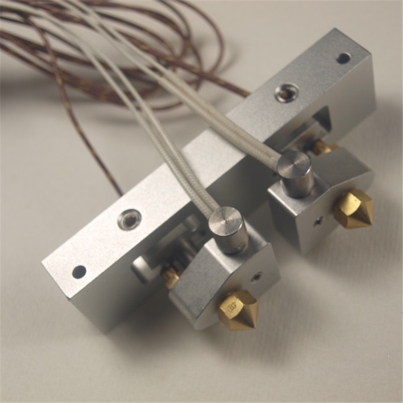 A Funssor Replicator 2X Hot End assembly kit dual extruder Replicator 2X Bar Mount Assembly with Stranded Thermocouple