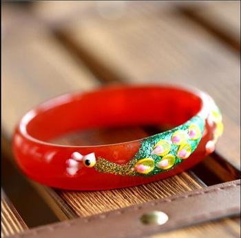 Natural red Bracelets Colored Drawing Peacock and Flower Bracelets Bangles Gift For Women Jades Jewelry