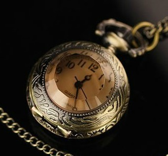 Coupon For Wholesale Price Good Quality Fashion Retro Nice New Bronze Coffee And White Glass Pocket Watch Necklace With Chain