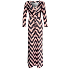 Brand New 2016 Autumn New Women Maxi dresses vestidos Sexy V neck striped dress three quarter