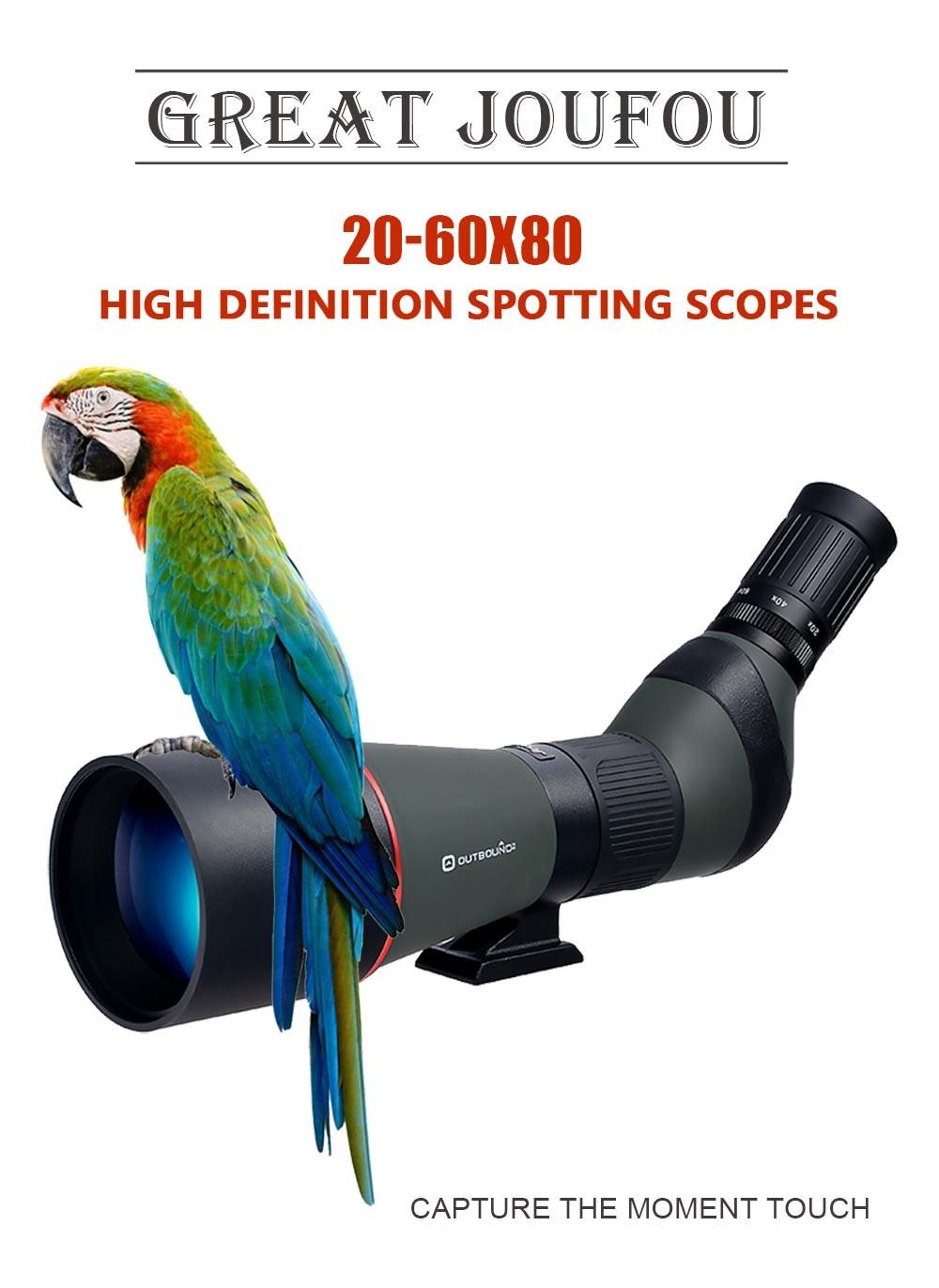 JouFou 20-60X80 HD Spotting Scope Waterproof Zoom Target Shooting Optical Glass High Power with Tripod Birdwatching (1)