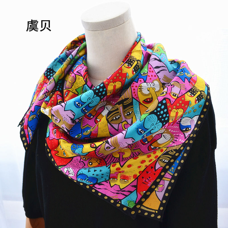 065188552 Detail Feedback Questions about Cartoon cat 100% real natural silk scarf  for girl and woman scarves gift spring autumn winter square scarves female  wrap ...