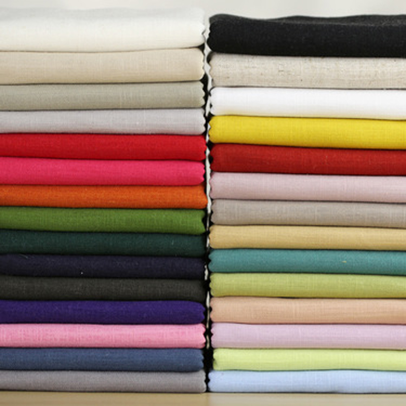140cm width pure plain solid color linen cotton material for Apparel fabric