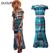 купить DUOUPA 2 Two Piece Set Summer Bohemian Maxi Dress Long Boho Vintage Women Sexy Off Shoulder Crop Top Beach Blue Ruffle Dress дешево