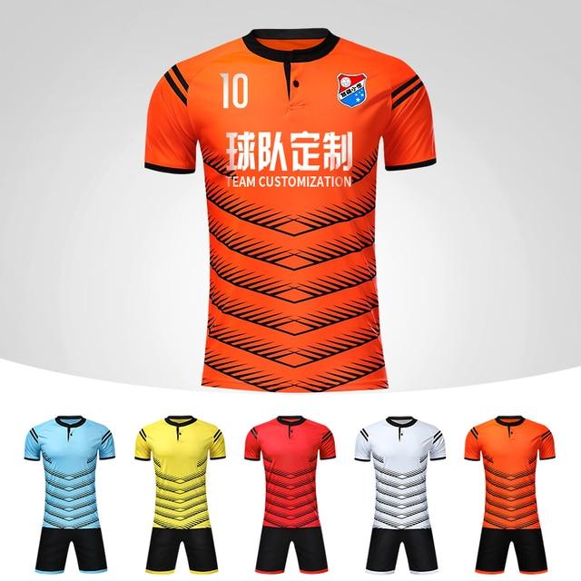 a58e2c6c8 Football Jerseys 2018 New Men s Blank Soccer Jerseys Set Button Soccer  Jersey Uniforms Suits Custom Soccer