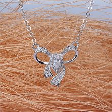 цена на Everoyal Luxury Crystal Bowknot Pendant Necklace For Women Jewelry Fashion 925 Sterling Silver Necklace Girls Accessories Lovers