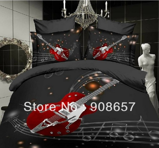 Elegant Black Bed Sheets 3D Oil Painting Music Duvet Quilt Cover Guitar Rock Design Bedding  Set Full
