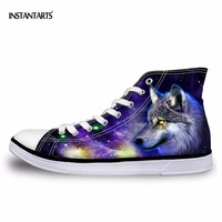 INSTANTARTS Fashion Mens Vulcanized Shoe 3D Animals Wolf High Top Shoes Spring Comfort Flats Man Canvas Shoes Male Sneakers Boys