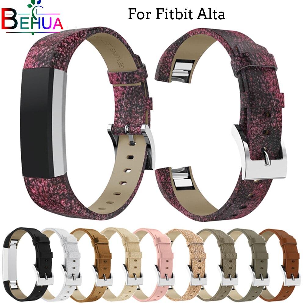 Luxo Pulseira de Couro Genuíno Strap Substituição Pulseira para Fitbit Alta/Alta HR Rastreador De Alta Qualidade pulseira Bling pulseira banda