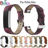 Pulsera de correa de repuesto de banda de cuero genuino de lujo para Fitbit Alta/Alta HR Tracker pulsera de Alta calidad banda de correa de Bling