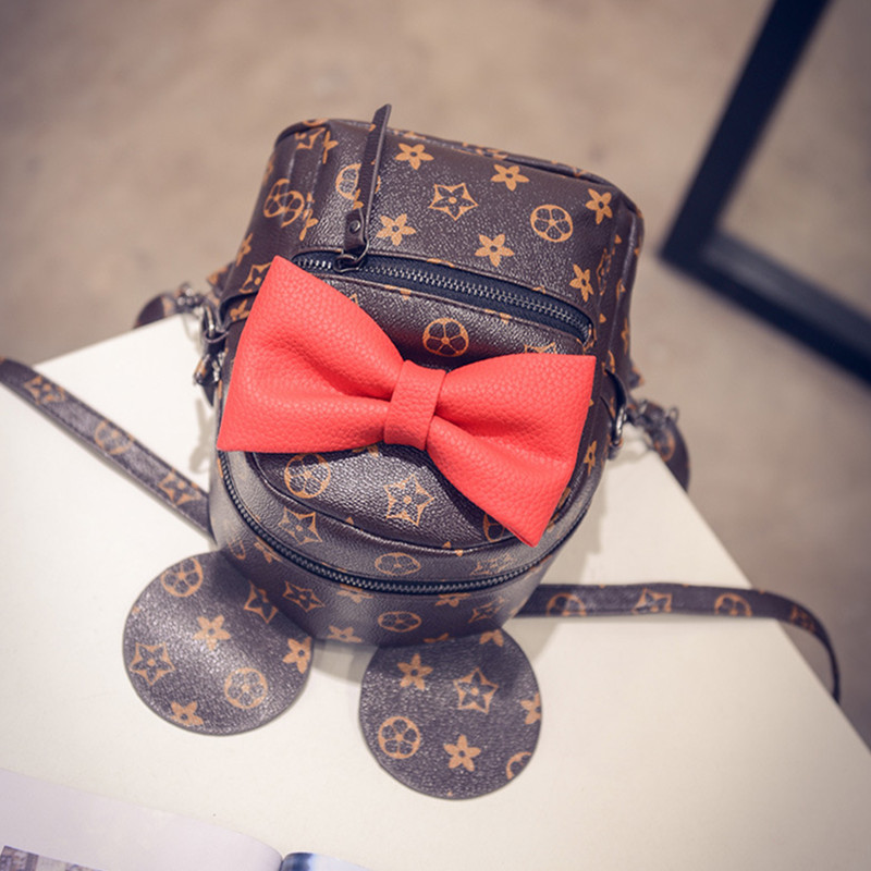 b1cd66d27665 New Arrival Butterfly Knot Mickey Little Backpack Women s Fashion Europe  And America Retro Bag School Girl s Cute Backpack-in Backpacks from Luggage    Bags ...