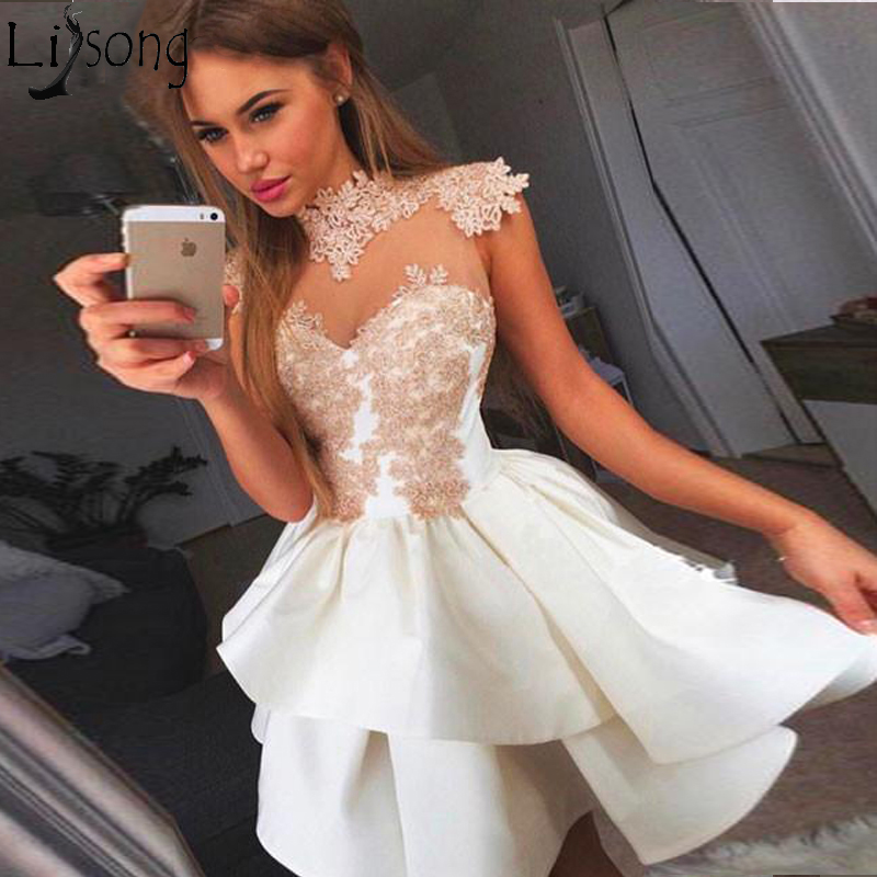 See Through 2018 Homecoming Dresses A-line High Collar Cap Sleeves Short Mini Lace Elegant Cocktail Dresses