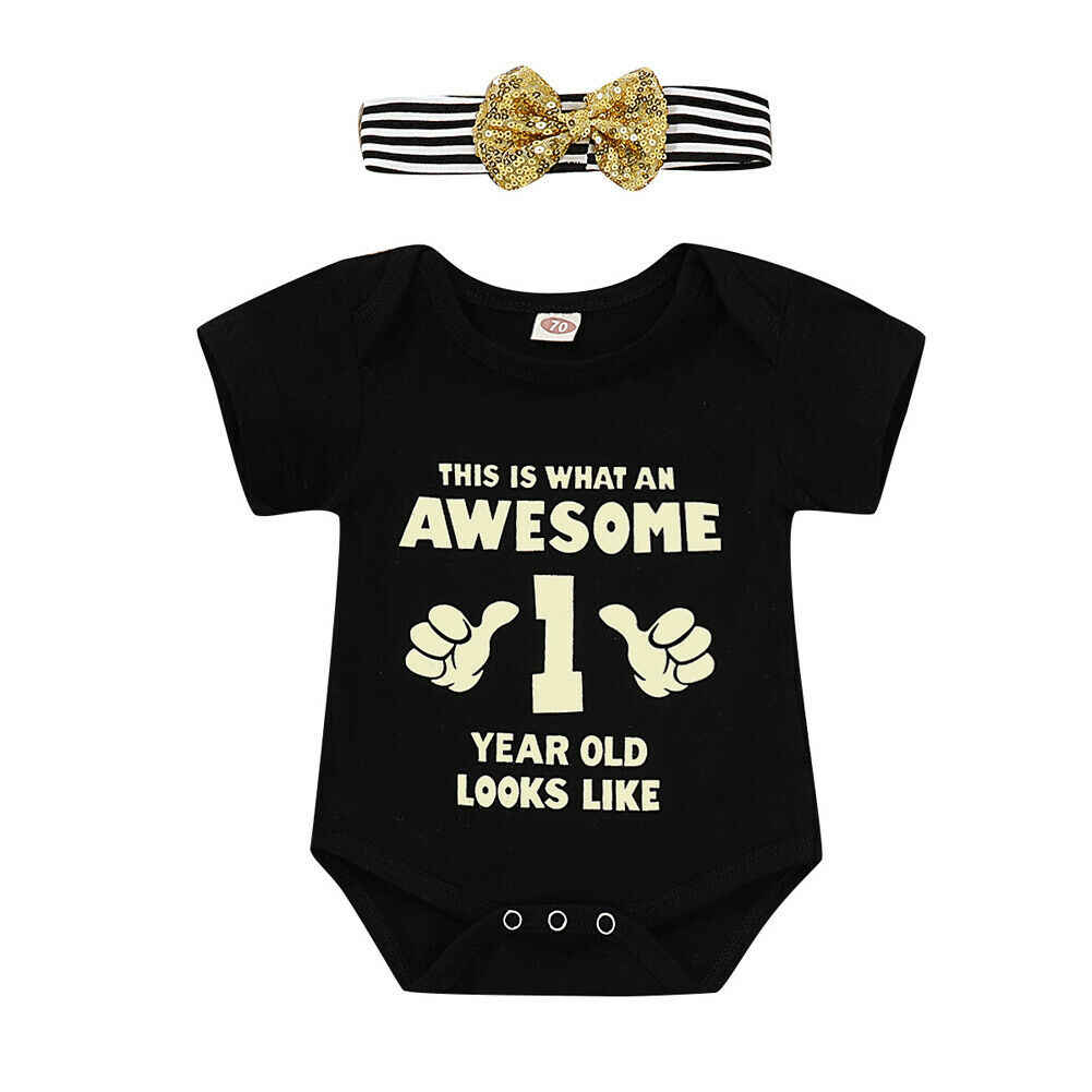 2019  summer Newborn Baby Clothes Short Sleeve Girl Boy Clothing 1st birthday 100%Cotton Rompers Costumes Black 2pcs 0-18M
