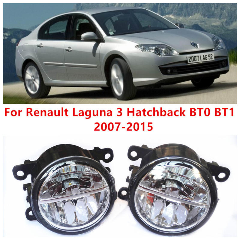 For Renault Laguna 3 Hatchback BT0 BT1  2007-2015 Fog Lamps LED Car Styling 10W Yellow White 2016 new lights side bowknot embellished plus size sweatshirts
