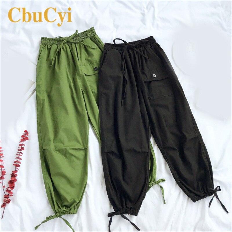 CbuCyi Free Size Capri   Pants   Women Summer Casual Loose   Capris     Pant   Korean Style Elastic Waist Solid Cargo   Pants     Capris   Womens