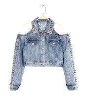 Wild Rivet Cutout Punk Off Shoulder Denim Jacket Short Design Jeans 2017 Feminino Spring Vintage Slim