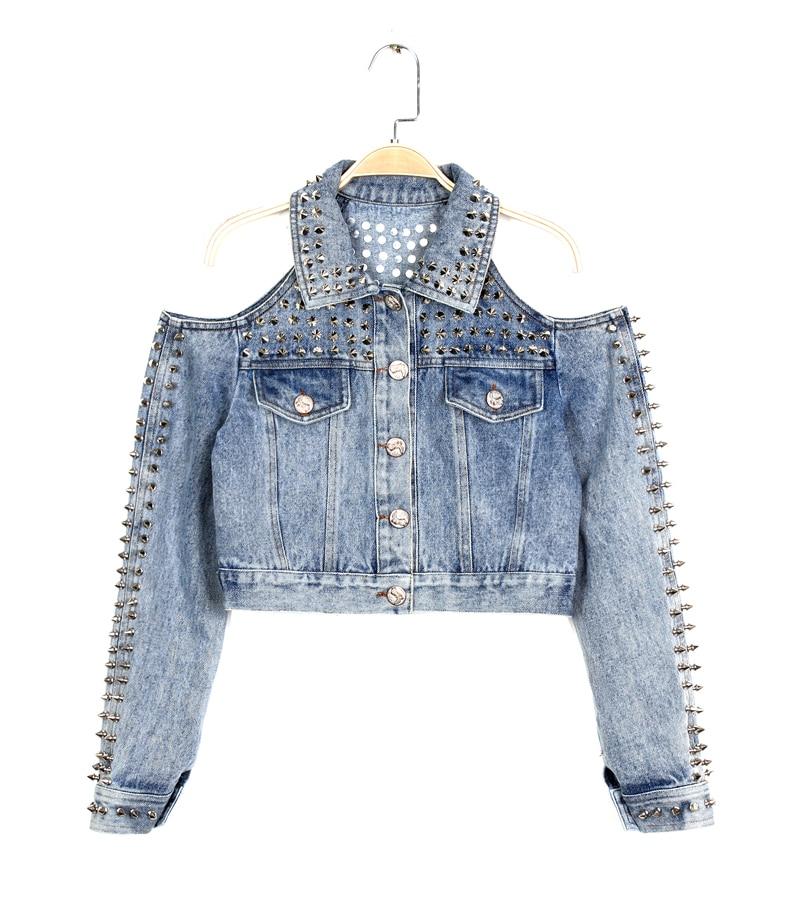 Wild Rivet Cutout punk Off Shoulder Denim Jacket short design font b jeans b font 2017
