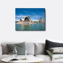 Laeacco Canvas Calligraphy Painting Places of Interest Sydney Opera Wall Art Sea City Posters Prints For Home Bedroom Decoration