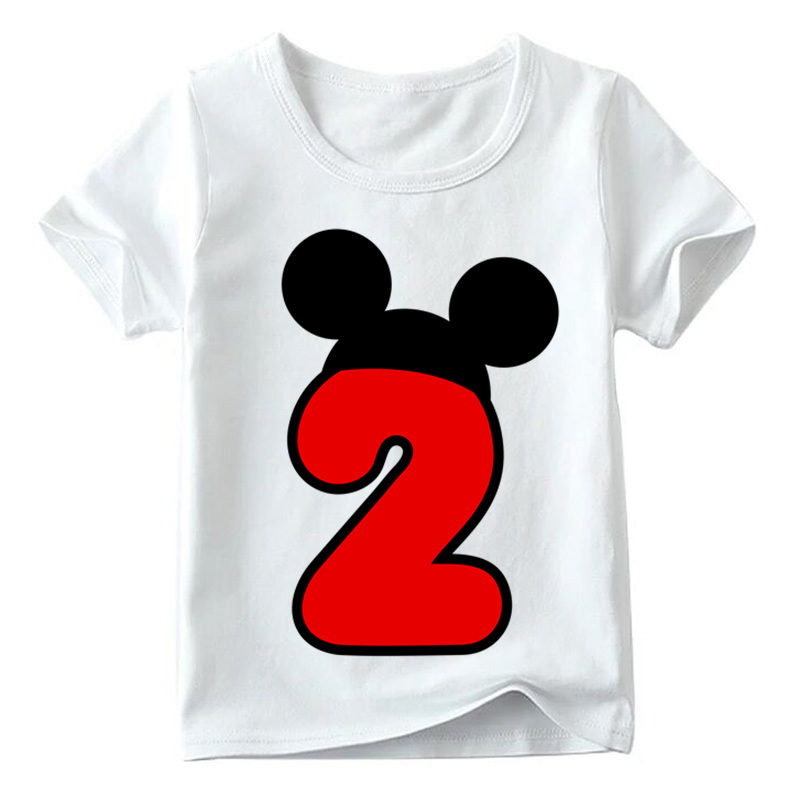 Baby Boys/Girls Happy Birthday Letter Bow Cute Print Clothes Children Funny T shirt,Kids Number 1-9 Birthday Present,HKP2416 26