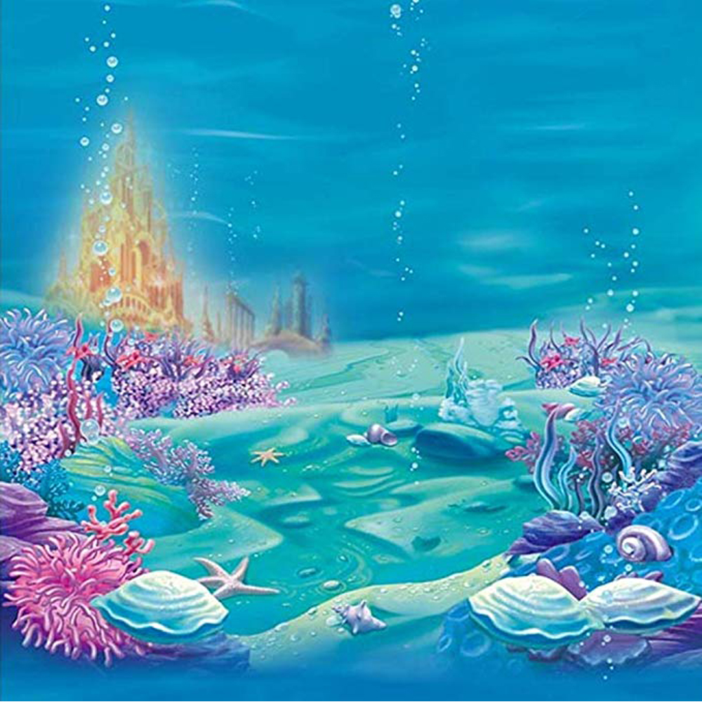 Under The Sea World Background Blue Printed Seaweed