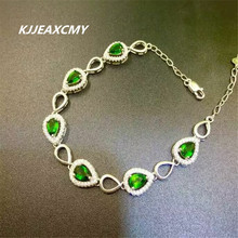 KJJEAXCMY Fine jewelry 925 sterling silver inlaid natural diopside shinv Bracelet inlaid jewelry