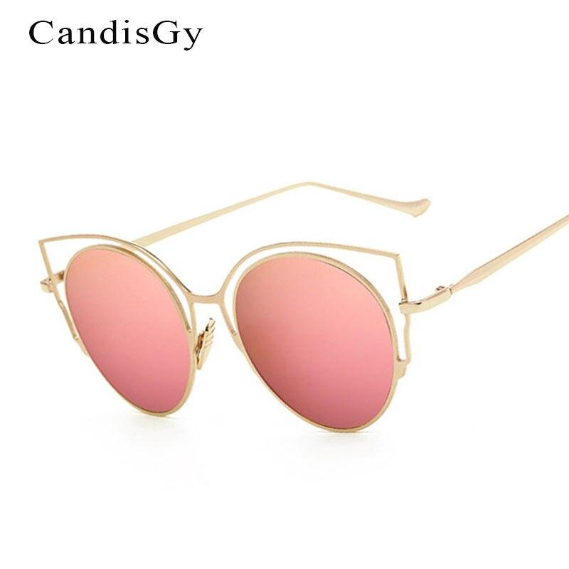 2832b326c7a52 2017 Nova Moda Olho de Gato Rosa Oco Espelho Óculos De Sol Dos Homens Das  Mulheres Designer de Marca Da Senhora do Sexo Feminino óculos de Sol UV400