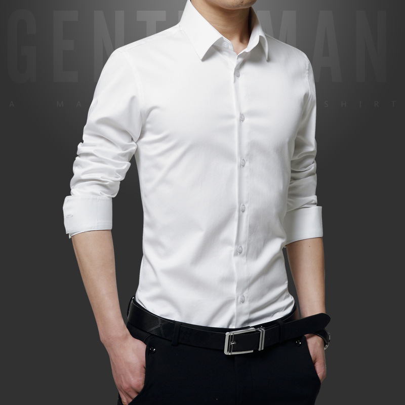 Men's Clothes Simple Formal White Turn-down Collar Solid Men Shirt Long Sleeve Red Black Shirts Dress Casual Slim Fit Clothing S