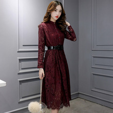 Korean style 2016 lace women dress autumn winter vintage fashion hollow out slim temperament full sleeve ladies veatidos B415