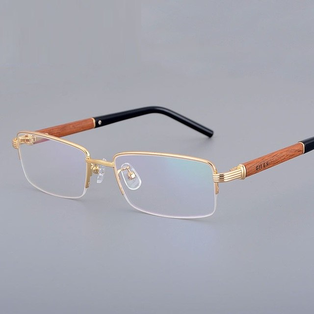 Vazrobe Gold Wood Glasses Frame Men Semi Rimless Wooden
