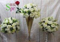 SPRสีขาวจัดส่งฟรี! 10ชิ้น/ล็อตถนนแต่งงานนำโต๊ะกลางดอกไม้ประดิษฐ์จูบบอลดอกไม้ลูกตกแต่