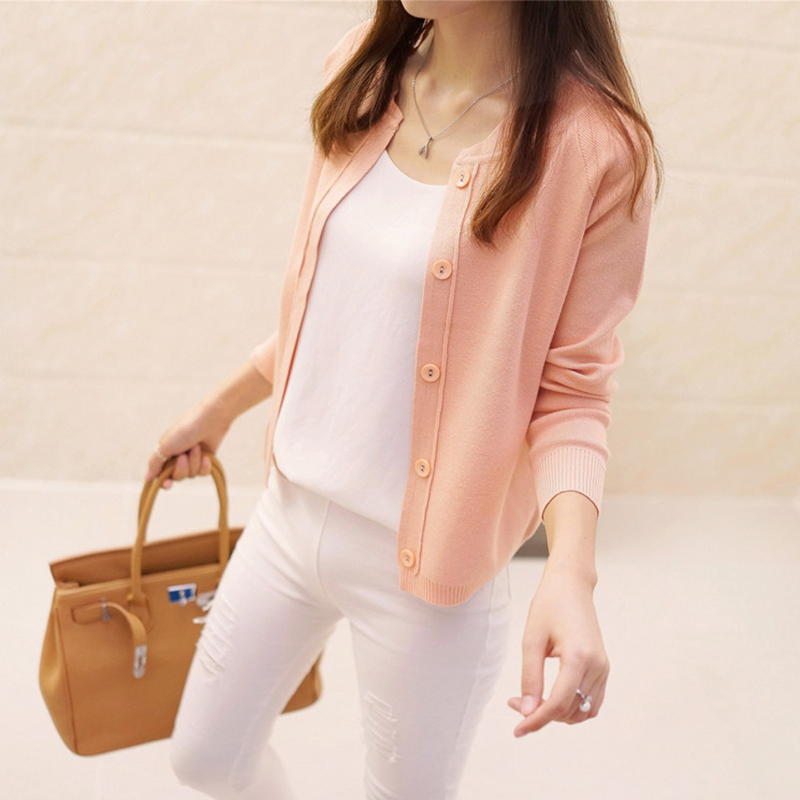 Female Autumn Outerwear Korean Style Single Breasted Long-sleeved Thin Cardigan Loose Type Sweater 0625-30