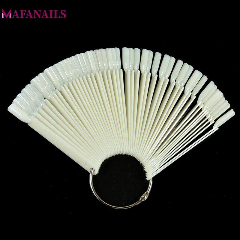 50 tips / set Nail Display Diagram Natural Color Fan-Shaped Practice - Nagel konst