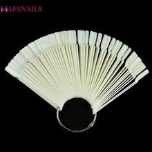 50 tips / set Nail Display Diagram Natural Color Fan-Shaped Practice Nail Visar Hylla Display För Nail Art Tools