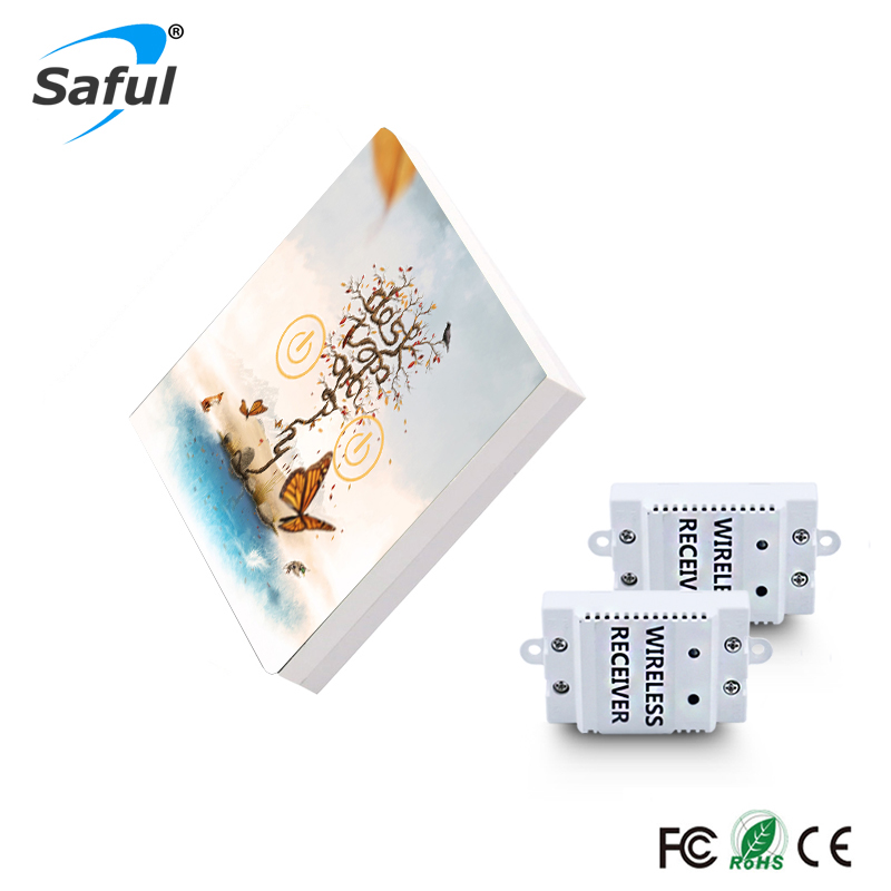 все цены на Saful Smart Home Switch 2 Gang 2 Way Remote Control Touch Switch Painting DIY Glass Design Wireless Touch Switch онлайн