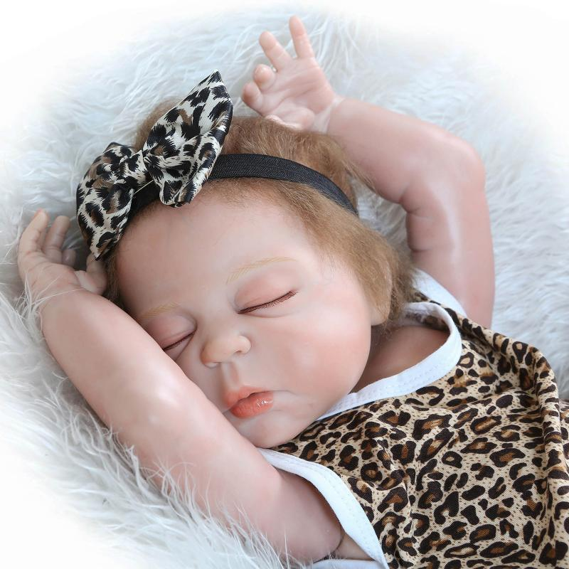 все цены на 22 Inches Baby Reborn 55 cm Full Body Silicone Sleeping Baby Realistic Baby Reborn Doll Baby Handmade Lifelike Doll Toy