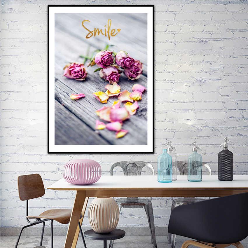 ポップ壁アートキャンバス絵画北欧スタイル美しいローズ花と少女ポスターの写真 HD プリントホーム装飾