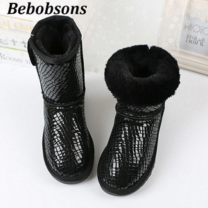 Image 1 - New women boots classic waterproof winter boots australian high quality snow boots genuine leather warm black shoes for woman