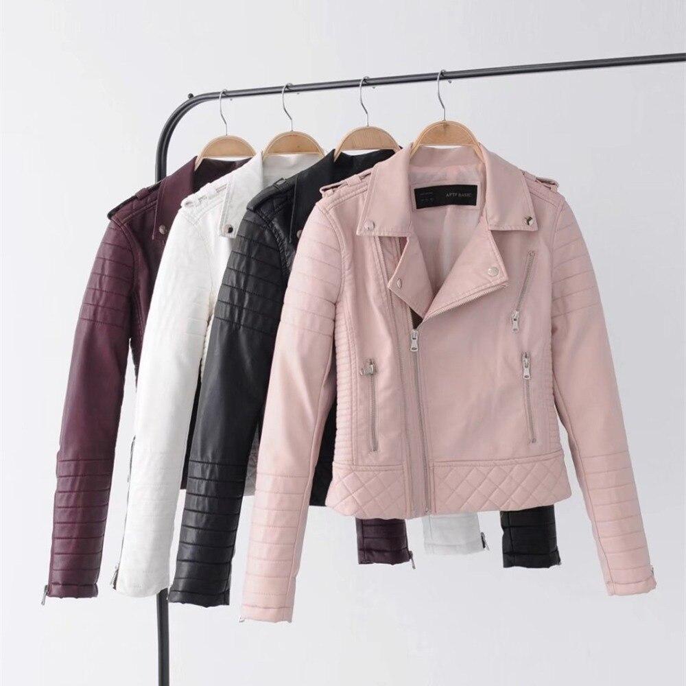 Elegant Women Faux Leather Coat Casual Multi-color Turn-down Collar Female Jacket