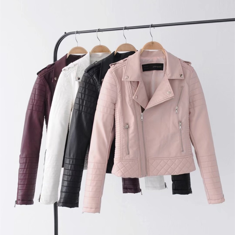 Elegant Women Faux   Leather   Coat Casual Multi-color Turn-down Collar Female Jacket