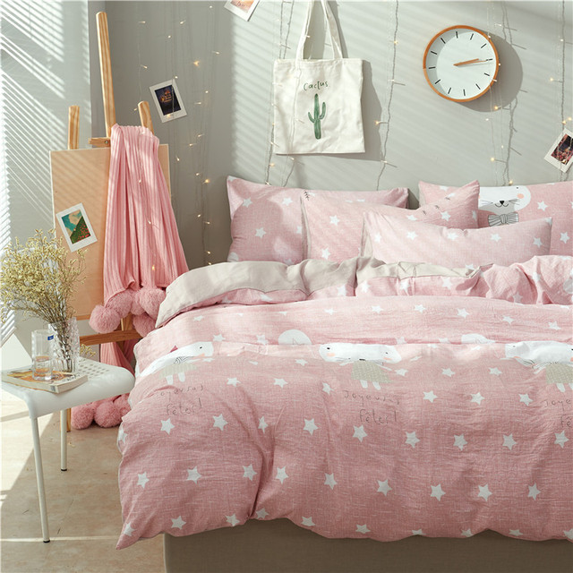 US $29.64 43% OFF Cute Pink+White Stars Pattern 3/4pcs Bedding Sets/Bed  Set/Bedclothes For Kids/Bed Linen Duvet Cover Bed Sheet Pillowcase Queen  -in ...