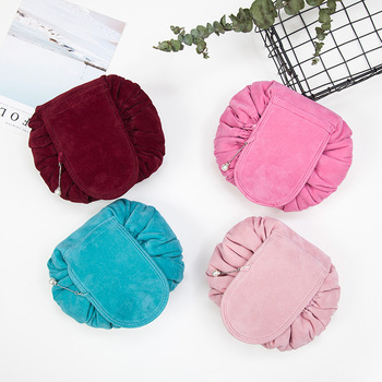 Round New Plush Makeup Case Magic Drawstring Cosmetic Bag Female Travel Make Up Bag Organizer Storage Pouch Toiletry Wash Kit 1