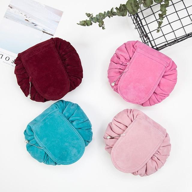 Round New Plush Makeup Case Magic Drawstring Cosmetic Bag Female Travel Make Up Bag Organizer Storage Pouch Toiletry Wash Kit 1