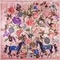 2017 Nuevos árboles Flor imprimió La Bufanda Cuadrada Mujeres foulard bijoux pájaro amarillo cuadrado de seda Bufandas Del Mantón de Hijab 90 CM A372