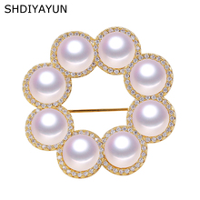 SHDIYAYUN Big Sale Pearl Brooch For Women Many Pearls Round Brooches Pins Natural Freshwater Fine Jewelry